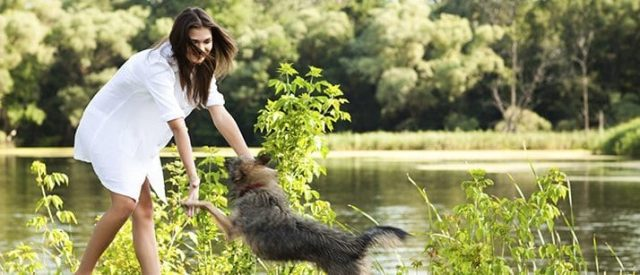 Woman playing with a dog