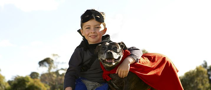 Dog with a kid